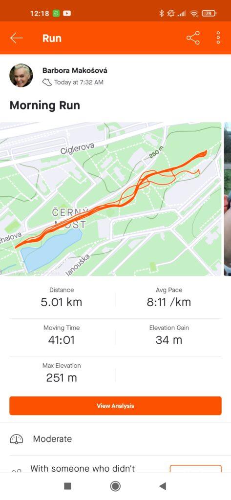 Dokumentuji si výsledky, pro běhání jsem si vybrala Stravu